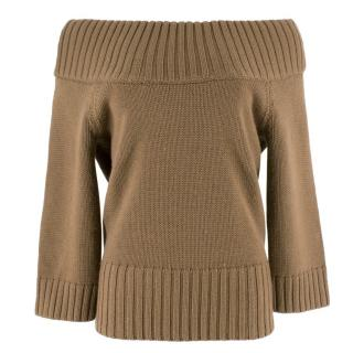Michael Kors Tan Wool Bardot Jumper