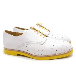 T&F Slack Shoemakers Handmade White & Yellow Contrast Derby Shoes