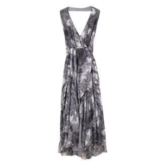 Haute Hippie Silk Halterneck Asymmetric Draped Maxi Dress