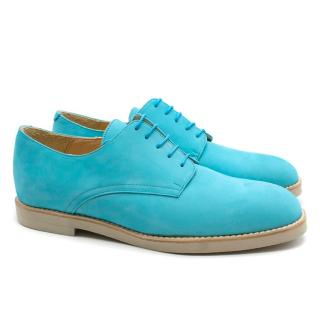T&F Slack Shoemakers London Handmade Turquoise Derby Shoes