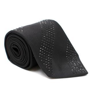 Gieves & Hawkes Black Crystal Silk Tie