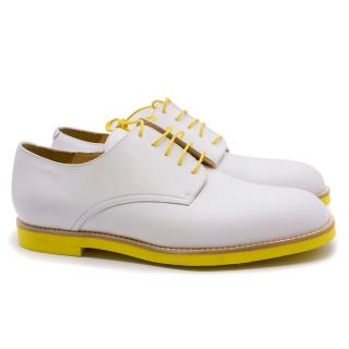 T&F Slack Shoemakers London Handmade White and Yellow Derby Shoes