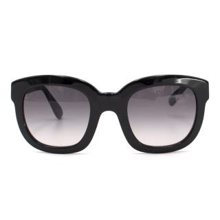 Emanuelle Khanh Black and Navy Oversized Sunglasses