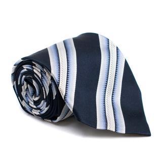 Paul Smith Navy Silk Stripe Tie