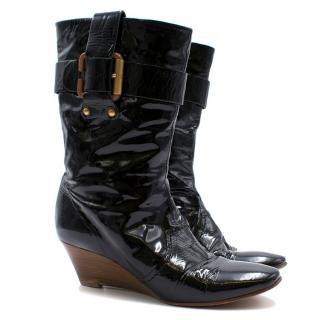 Chloe Black Vinyl Wedge Boots