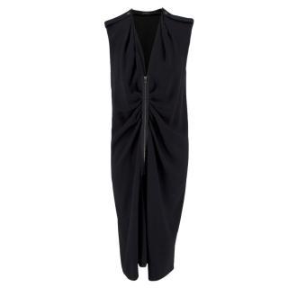 Joseph Black Zip Front Midi Dress