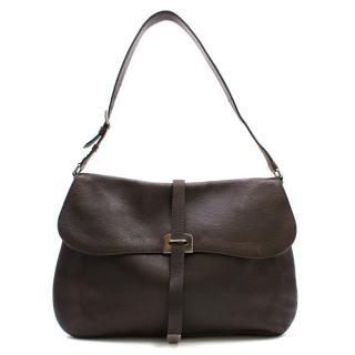 Prada Dark Brown Leather Saddle Bag