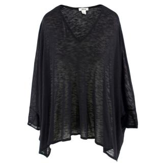 Helmut Lang Black Draped Oversized Top