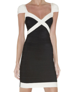 Herve Leger Umeki Colour Block Dress