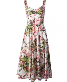 Dolce & Gabbana Floral Pleated Midi Dress