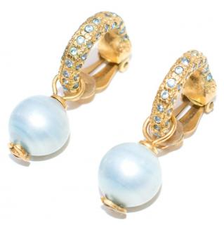 Chanel Gold Toned Pearl Drop Embellished Earrings