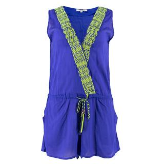 OndadeMar Blue Embroidered Playsuit