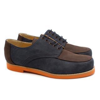 T&F Slack Shoemakers Handmade Nubuck Contrast Navy Lace-Up Shoes