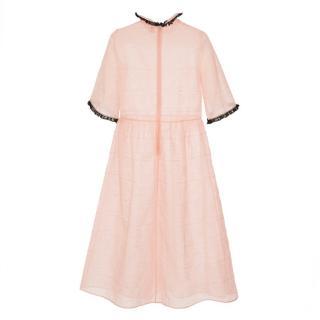 Shrimps Pink Lancelot Doodle-embroidered Organza Dress