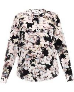 Rebecca Taylor Long Sleeve Frost Floral Double Pocket Silk Blouse