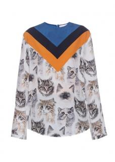 Stella McCartney Varsity Stripe Cat Print Silk Blouse