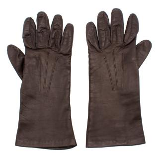 Pickett Brown Leather and Silk Gloves