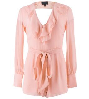 Intermix Baby Pink Silk Ruffled Playsuit