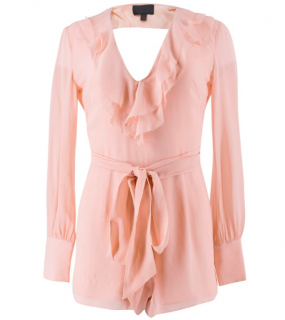 Intermix Baby Pink Silk Ruffled Playsuit