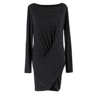 Donna Karan Black Speckled Twist Dress