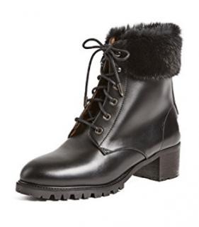 Aquazzura Mink Trim Black Leather Ankle Boots