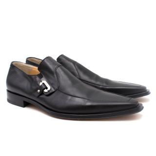 Cesare Paciotti Black Leather Pointed Loafers