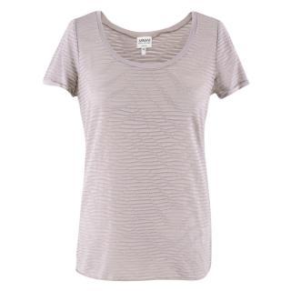 Armani Collezioni Grey Striped Sheer Top