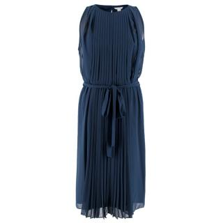Diane Von Furstenberg Blue Pleated Dress