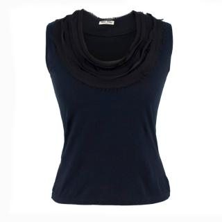 Miu Miu Navy Sleeveless Frilled Top