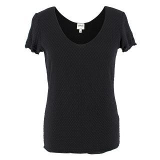Armani Collezioni Black Textured Top