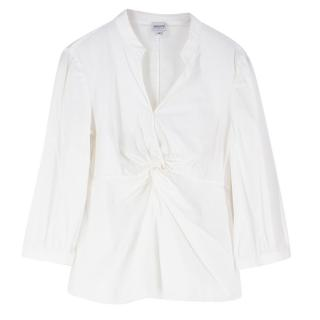 Armani Collezioni White Gathered Front Shirt