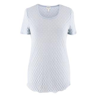 Armani Collezioni Light Blue Textured Top