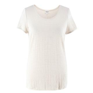 Armani Collezioni Cream Textured T-Shirt