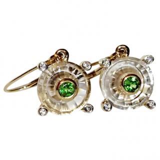 Bespoke Gold Setting Rock Crystal & Garnet Earrings