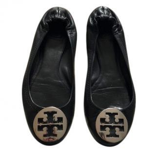 Tory Burch Black Leather Reva Ballet Flats