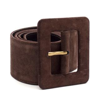 Yves Saint Laurent Vintage Brown Suede Wide Waist Belt