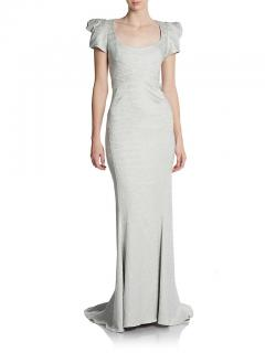 Zac Posen Scoop Neck Silvery-Blue Gown