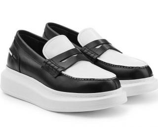 Alexander Mcqueen black white platform loafers