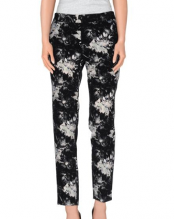 Rebecca Taylor Black Mid Rise Floral Trousers