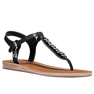 Coach Black T-strap Chain Sandals