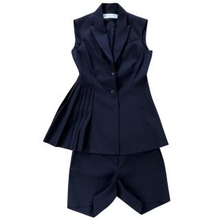 Dior Wool & Silk Pleated Waistcoat and Shorts Set