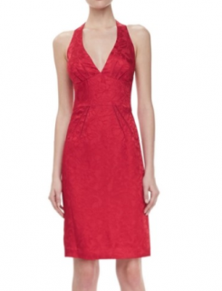 Zac Posen Jacquard Halter V-neck Red Mini Dress