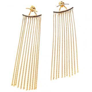 Bespoke  18ct Gold Sapphire & Fringe Ear Jackets