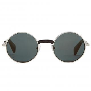 Yohji Yamamoto Men's Black Silver Round Sunglasses