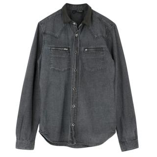 The Kooples Leather Collared Denim Shirt