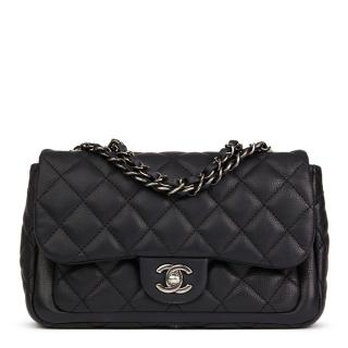 Chanel Black Quilted Caviar Leather Classic Single Flap Bag