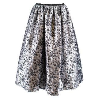 Preen by Thornton Bregazzi Silver Floral Midi Skirt