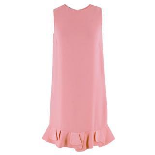 Mui Mui Pink Ruffled Sleeveless Shift Dress