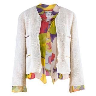 Chanel Cream Silk Chiffon Lined Tweed Jacket