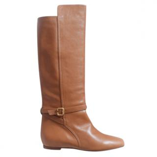 Chloe brown flat knee high leather boots